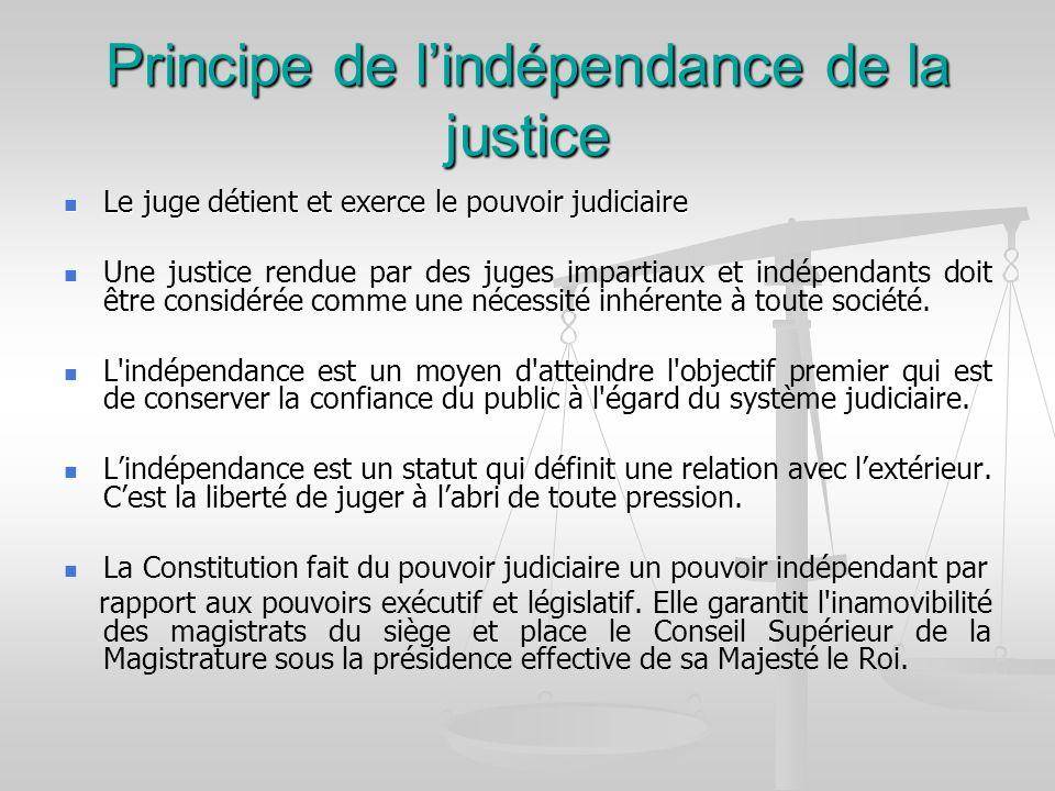 Principe de l'indépendance de la justice