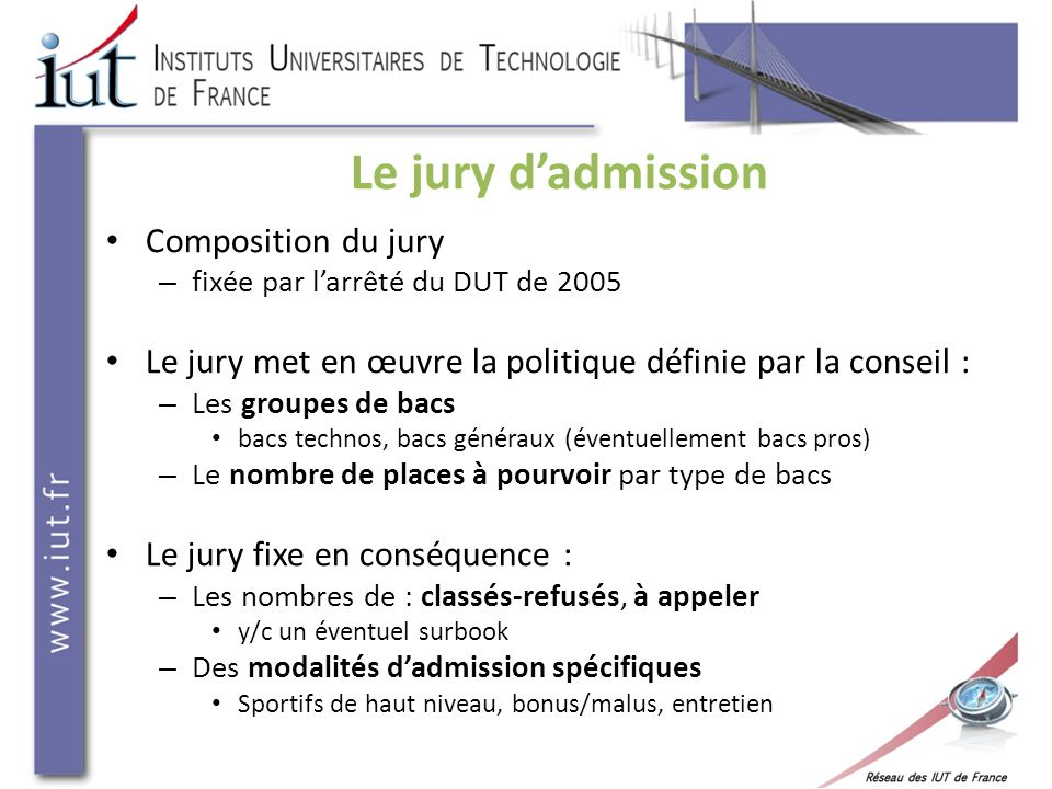 Le jury d'admission Composition du jury