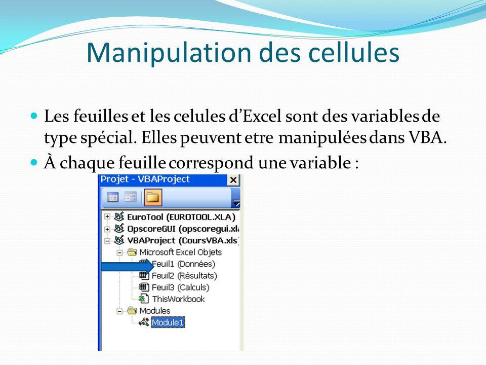 Manipulation des cellules