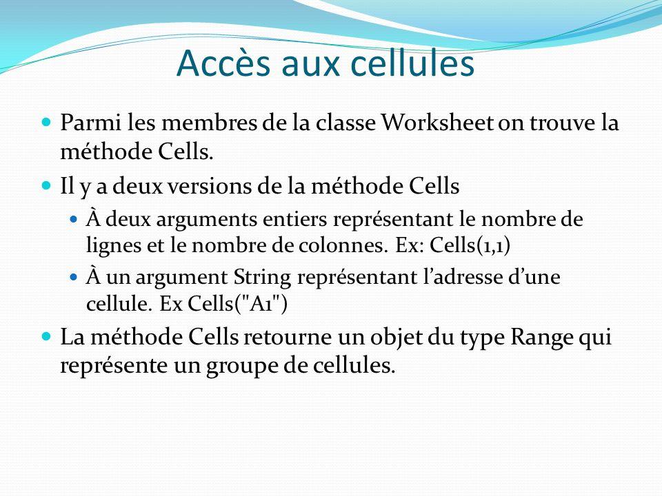 Accès aux cellules Parmi les membres de la classe Worksheet on trouve la méthode Cells. Il y a deux versions de la méthode Cells.
