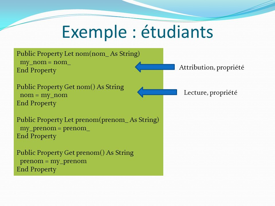 Exemple : étudiants Public Property Let nom(nom_ As String)