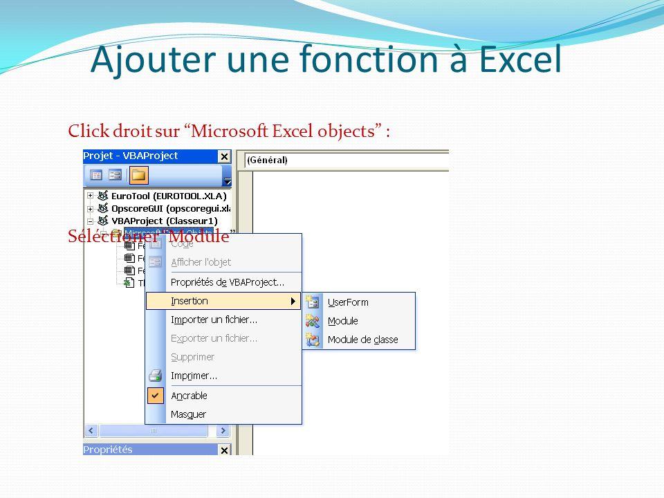Ajouter une fonction à Excel