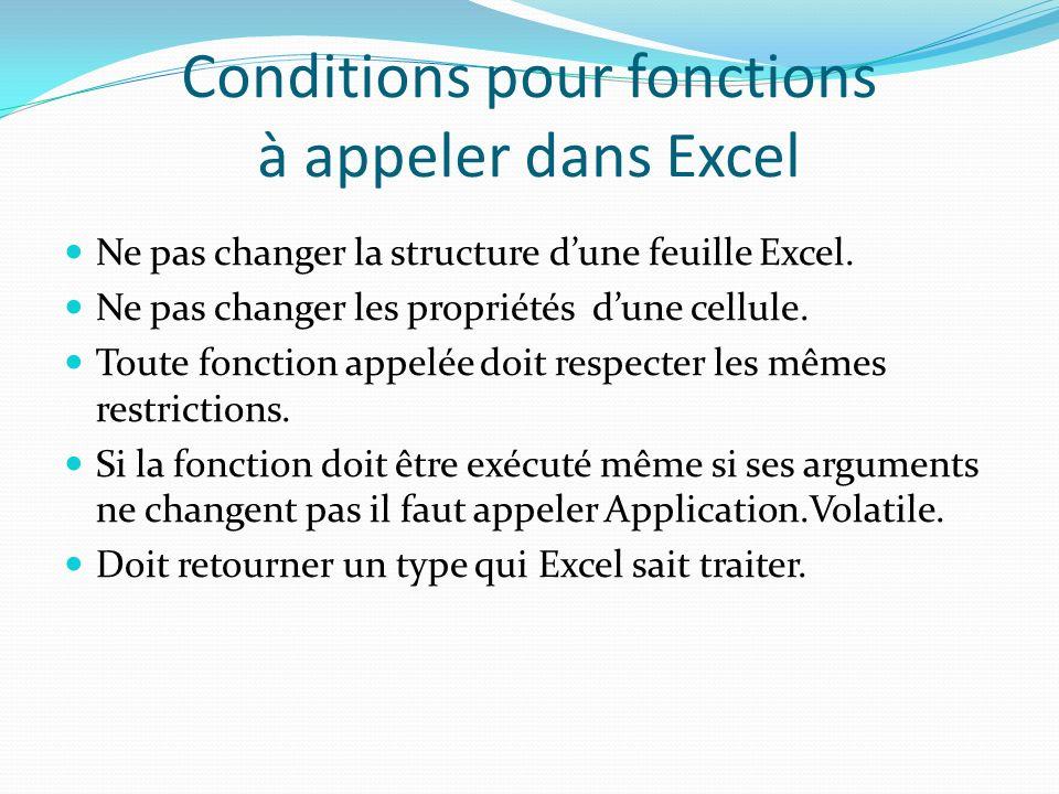 Conditions pour fonctions à appeler dans Excel