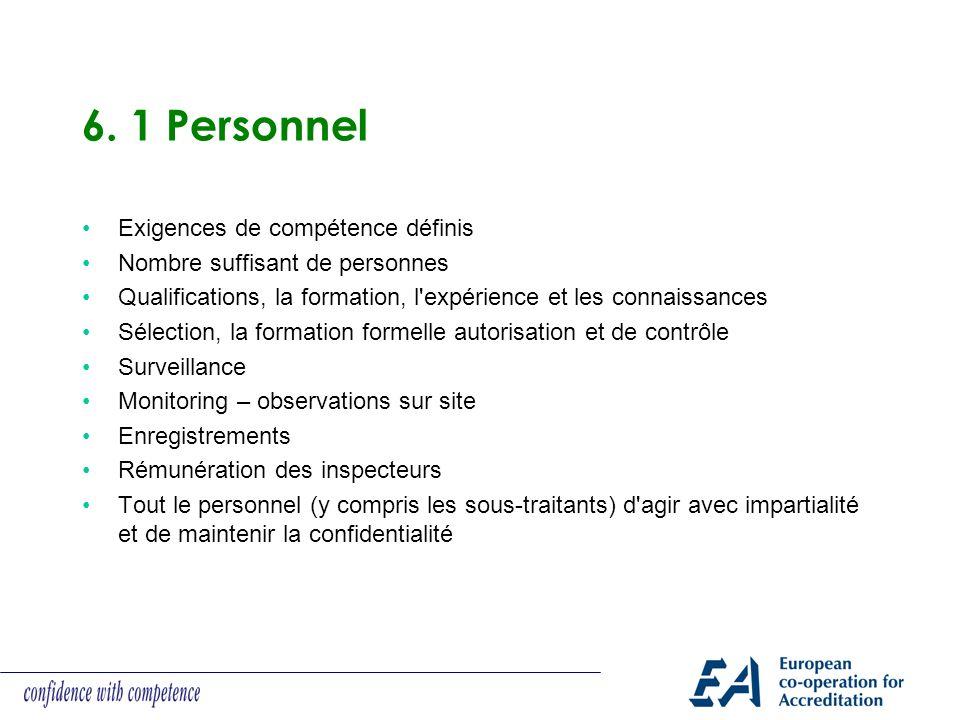 6. 1 Personnel Exigences de compétence définis