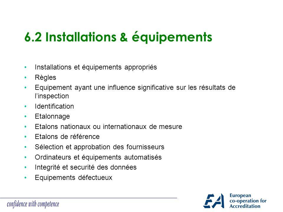 6.2 Installations & équipements