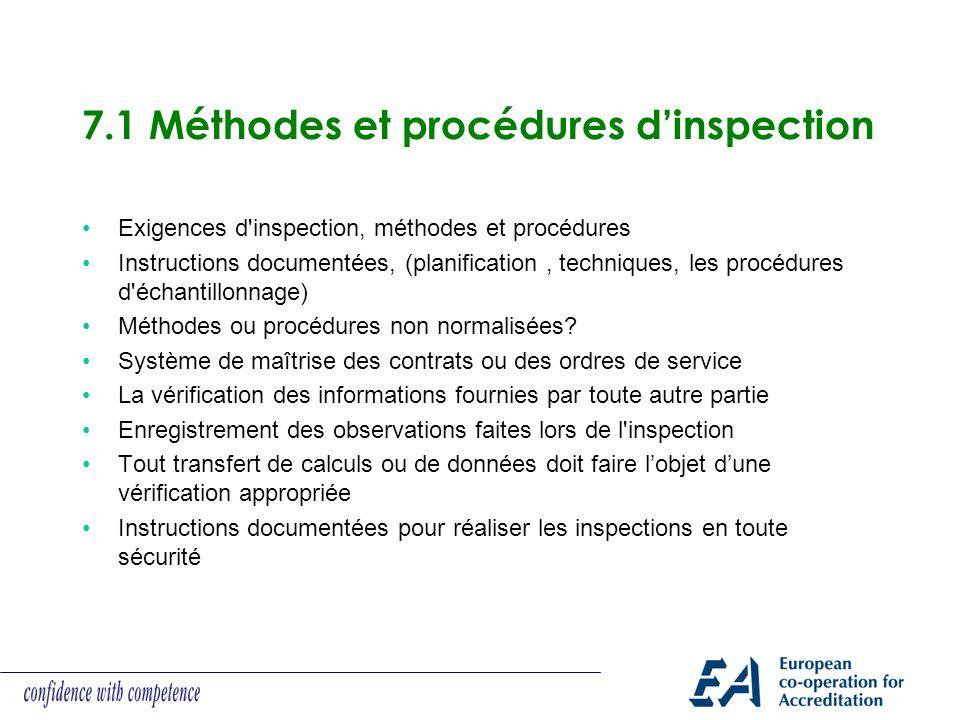 7.1 Méthodes et procédures d'inspection