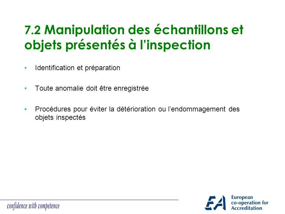 7.2 Manipulation des échantillons et objets présentés à l'inspection