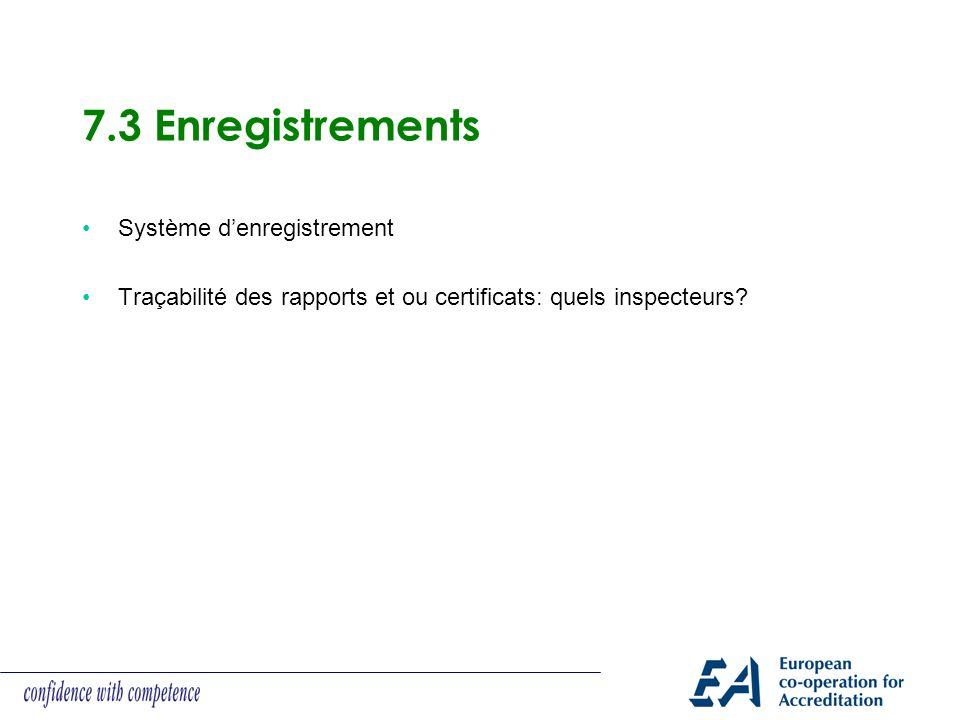 7.3 Enregistrements Système d'enregistrement
