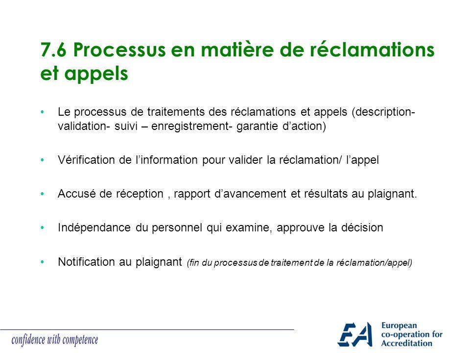 7.6 Processus en matière de réclamations et appels