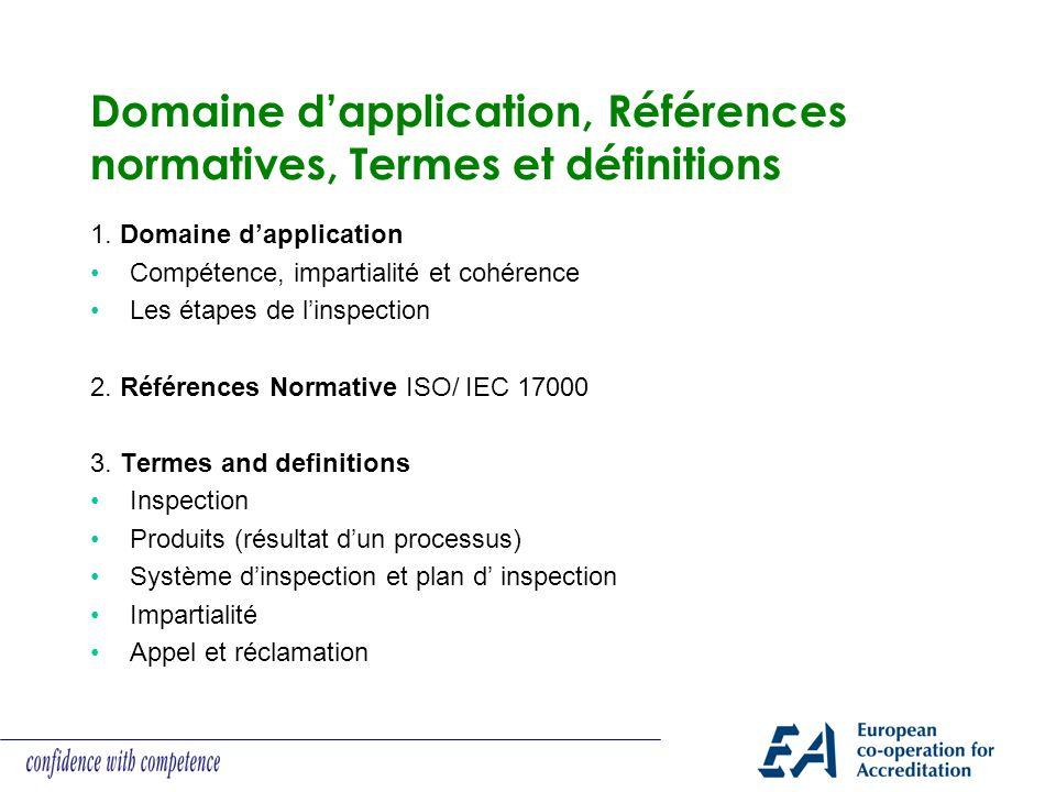 Domaine d'application, Références normatives, Termes et définitions