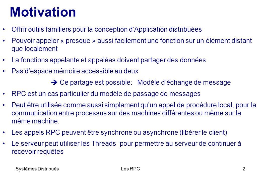 Motivation Offrir outils familiers pour la conception d'Application distribuées.