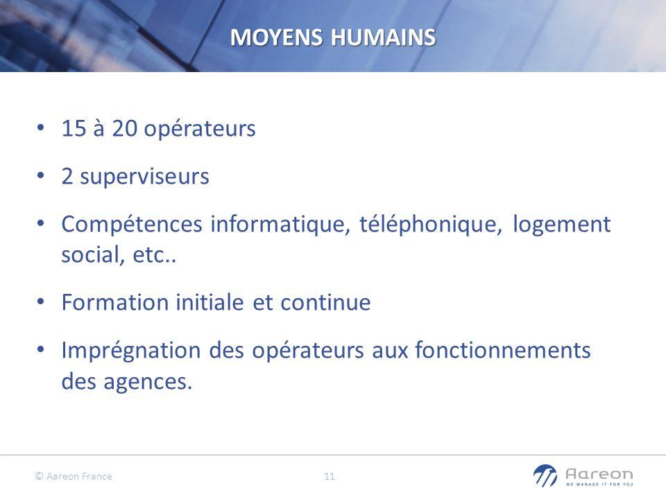 MOYENS HUMAINS 15 à 20 opérateurs. 2 superviseurs. Compétences informatique, téléphonique, logement social, etc..