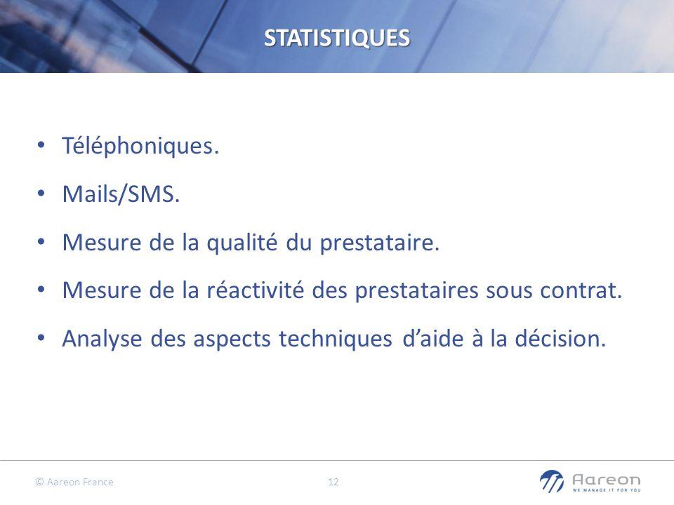 STATISTIQUES Téléphoniques. Mails/SMS. Mesure de la qualité du prestataire. Mesure de la réactivité des prestataires sous contrat.