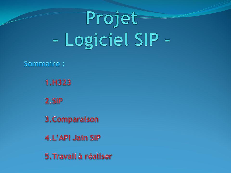Projet - Logiciel SIP - Sommaire : H323 SIP Comparaison L'API Jain SIP