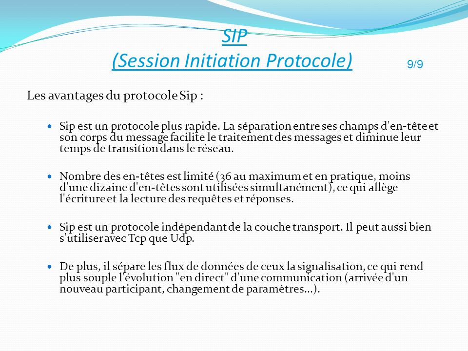 SIP (Session Initiation Protocole)