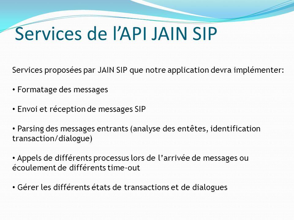 Services de l'API JAIN SIP