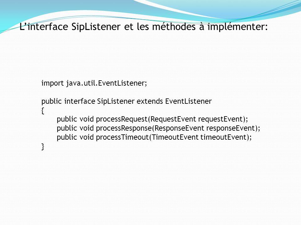 L'interface SipListener et les méthodes à implémenter: