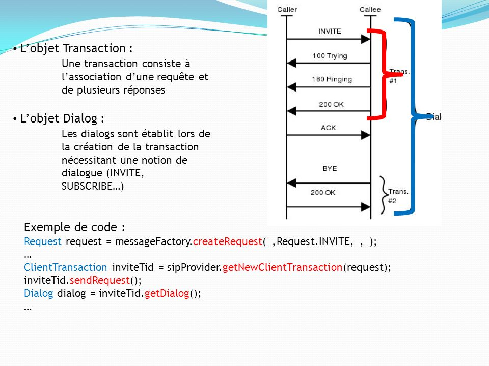 L'objet Transaction : Une transaction consiste à l'association d'une requête et de plusieurs réponses.