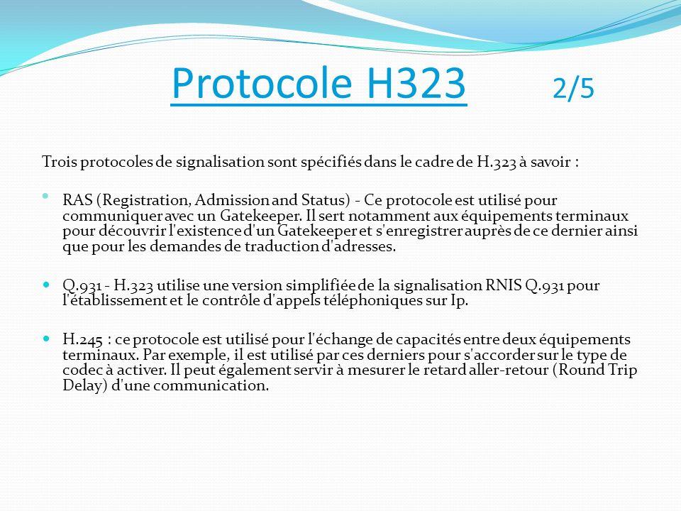 Protocole H323 2/5 Trois protocoles de signalisation sont spécifiés dans le cadre de H.323 à savoir :