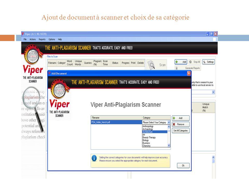 Ajout de document à scanner et choix de sa catégorie