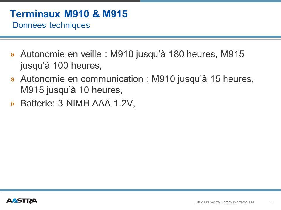 Terminaux M910 & M915 Données techniques