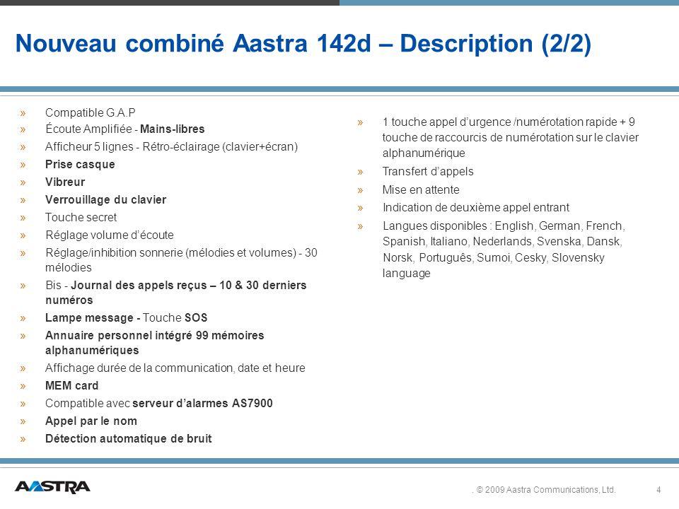 Nouveau combiné Aastra 142d – Description (2/2)