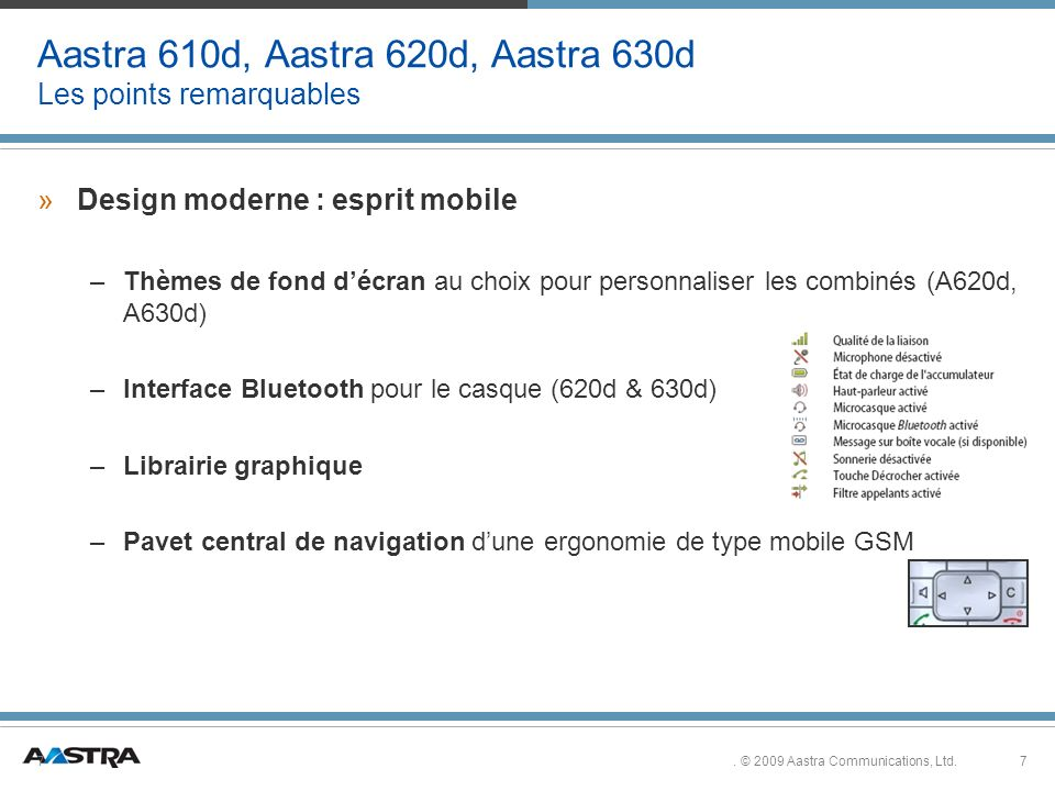 Aastra 610d, Aastra 620d, Aastra 630d Les points remarquables