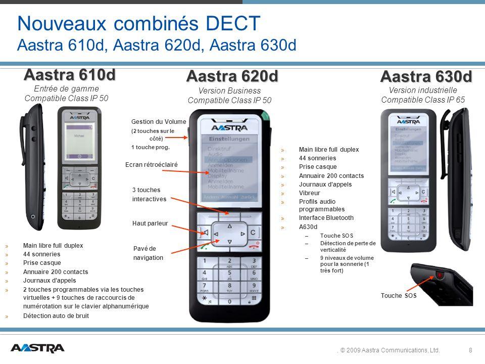 Nouveaux combinés DECT Aastra 610d, Aastra 620d, Aastra 630d