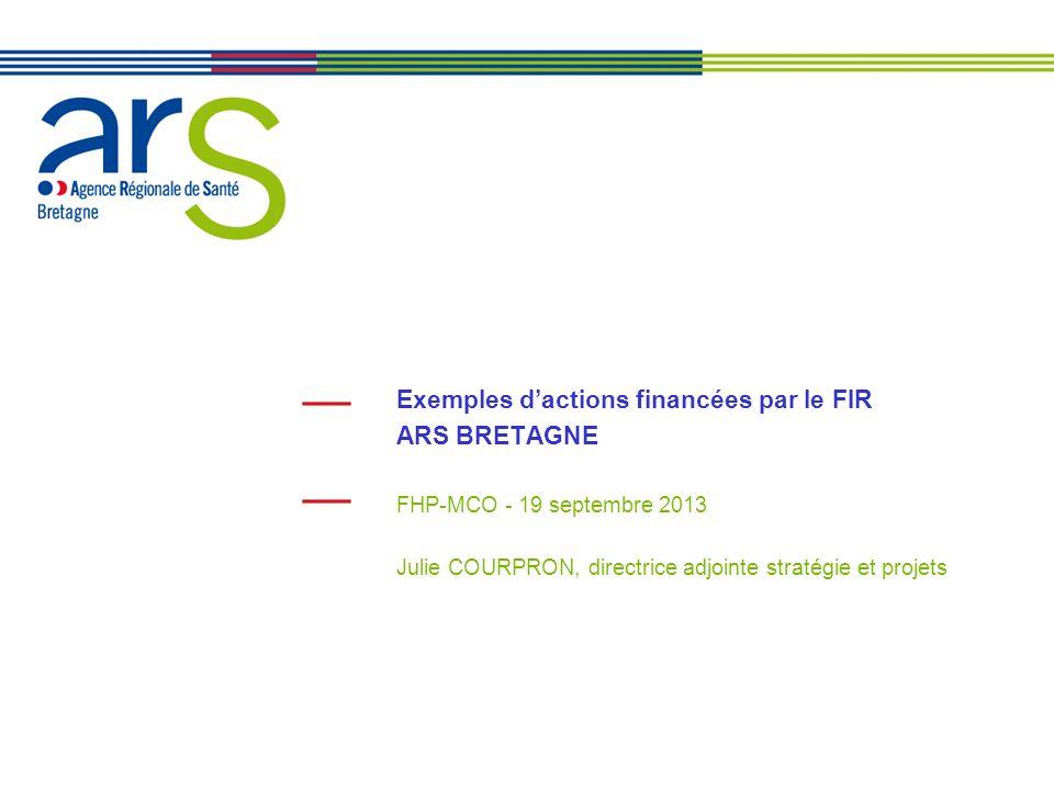Exemples d'actions financées par le FIR ARS BRETAGNE