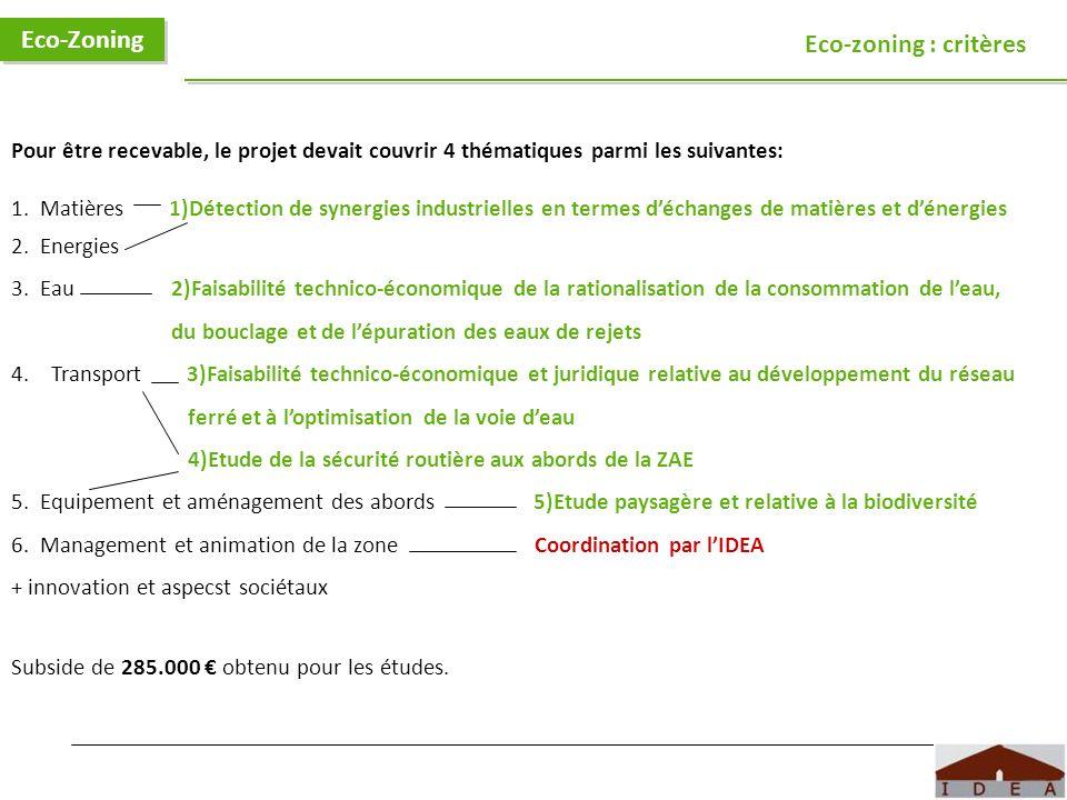 Eco-Zoning Eco-zoning : critères