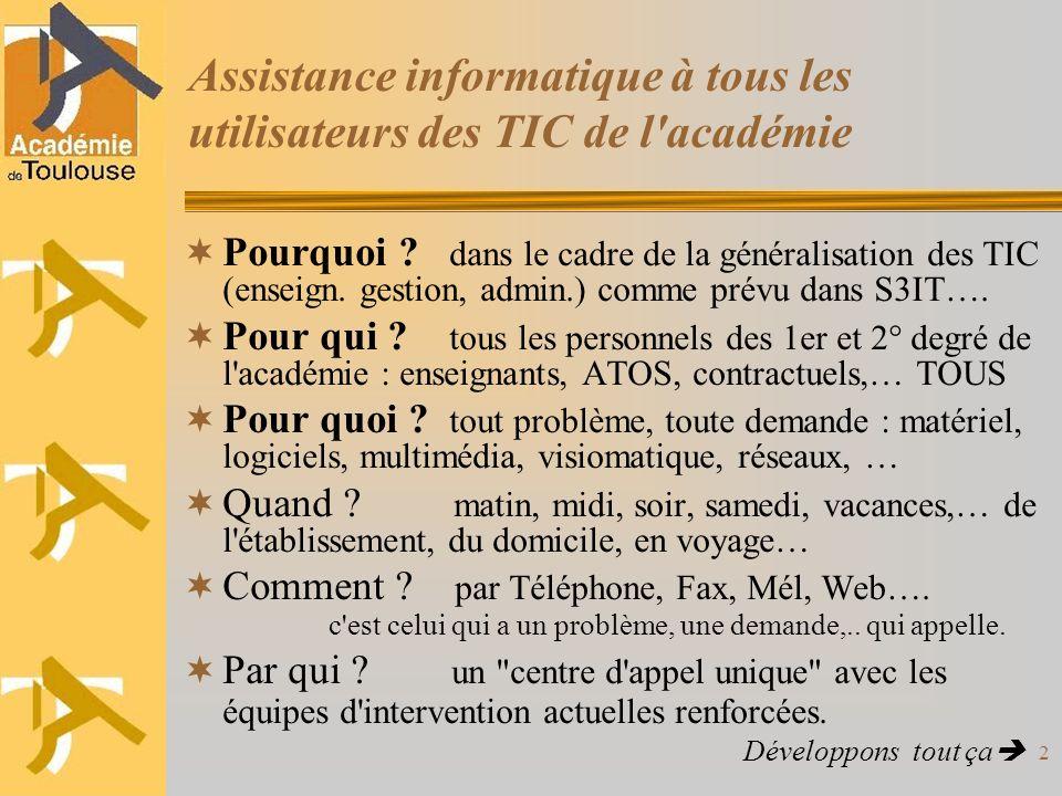 Assistance informatique à tous les utilisateurs des TIC de l académie