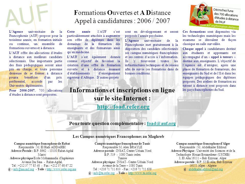 Formations Ouvertes et A Distance Appel à candidatures : 2006 / 2007