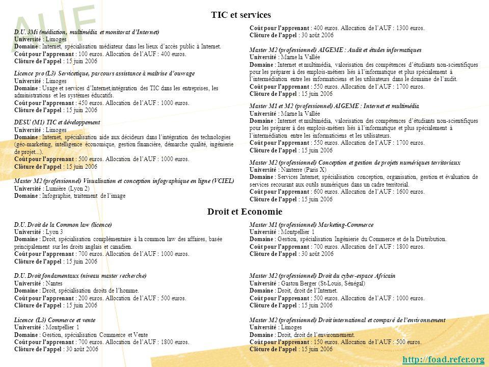 TIC et services Droit et Economie http://foad.refer.org