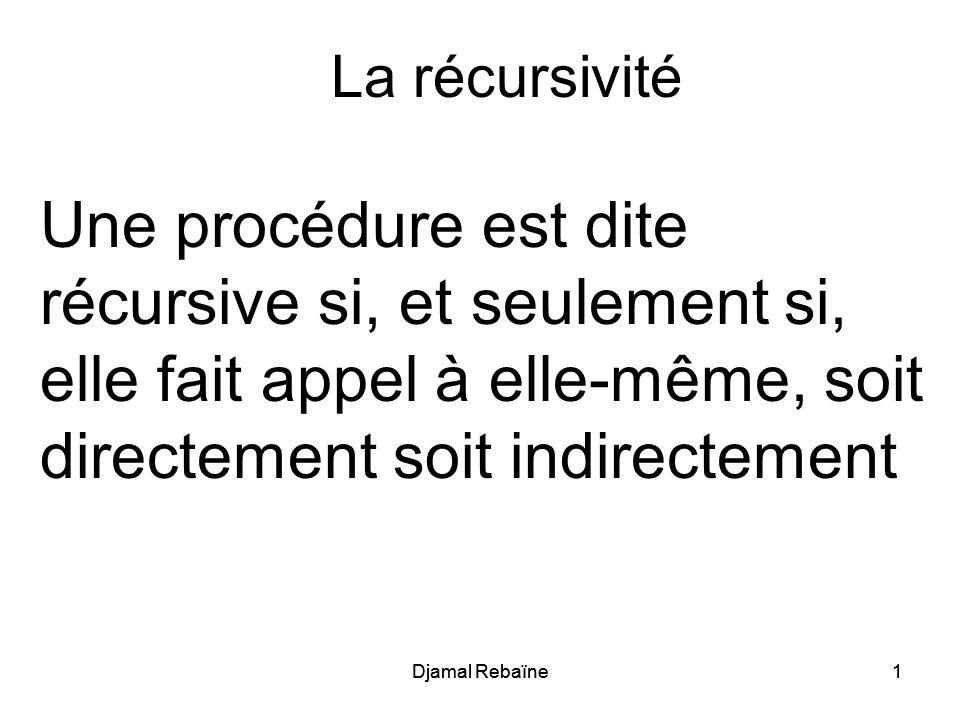 La récursivité Une procédure est dite récursive si, et seulement si, elle fait appel à elle-même, soit directement soit indirectement.