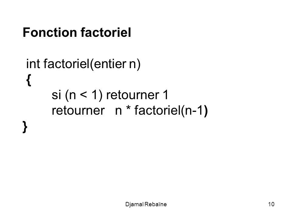 int factoriel(entier n) { si (n < 1) retourner 1
