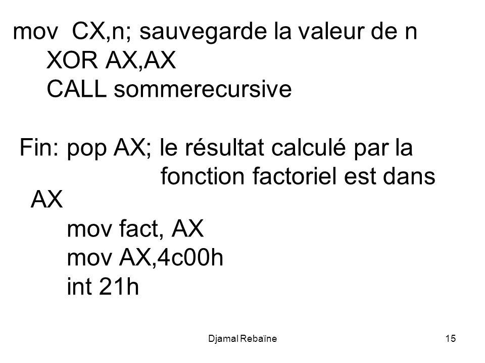 mov CX,n; sauvegarde la valeur de n XOR AX,AX CALL sommerecursive