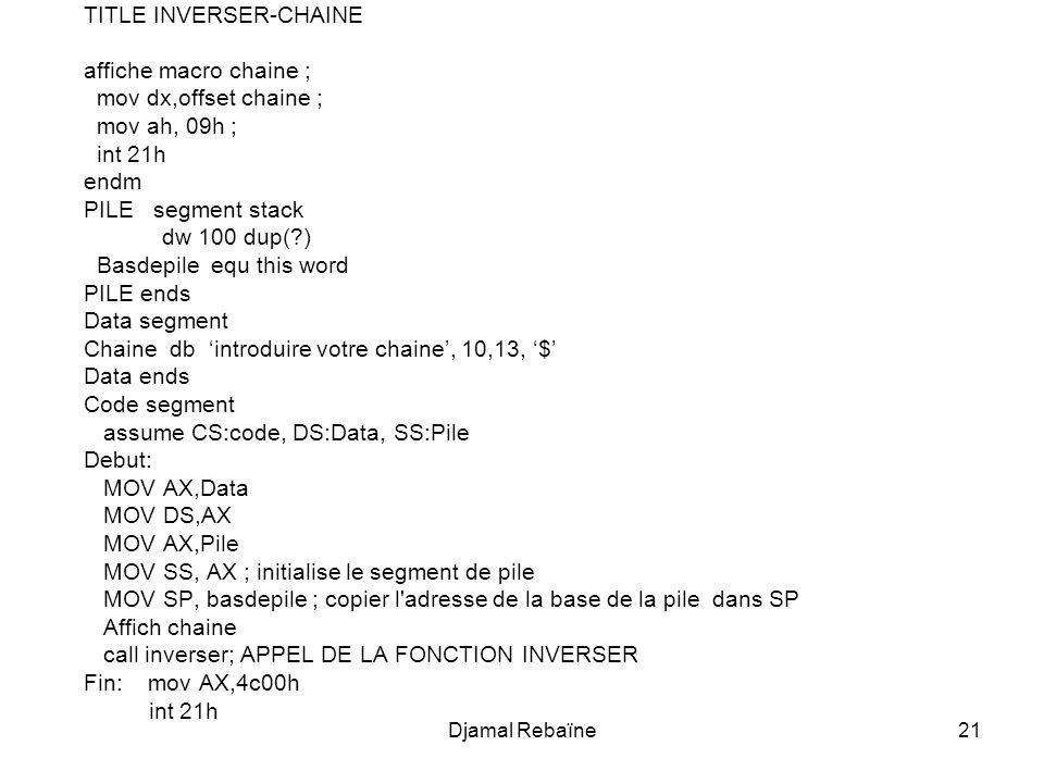 TITLE INVERSER-CHAINE affiche macro chaine ; mov dx,offset chaine ;