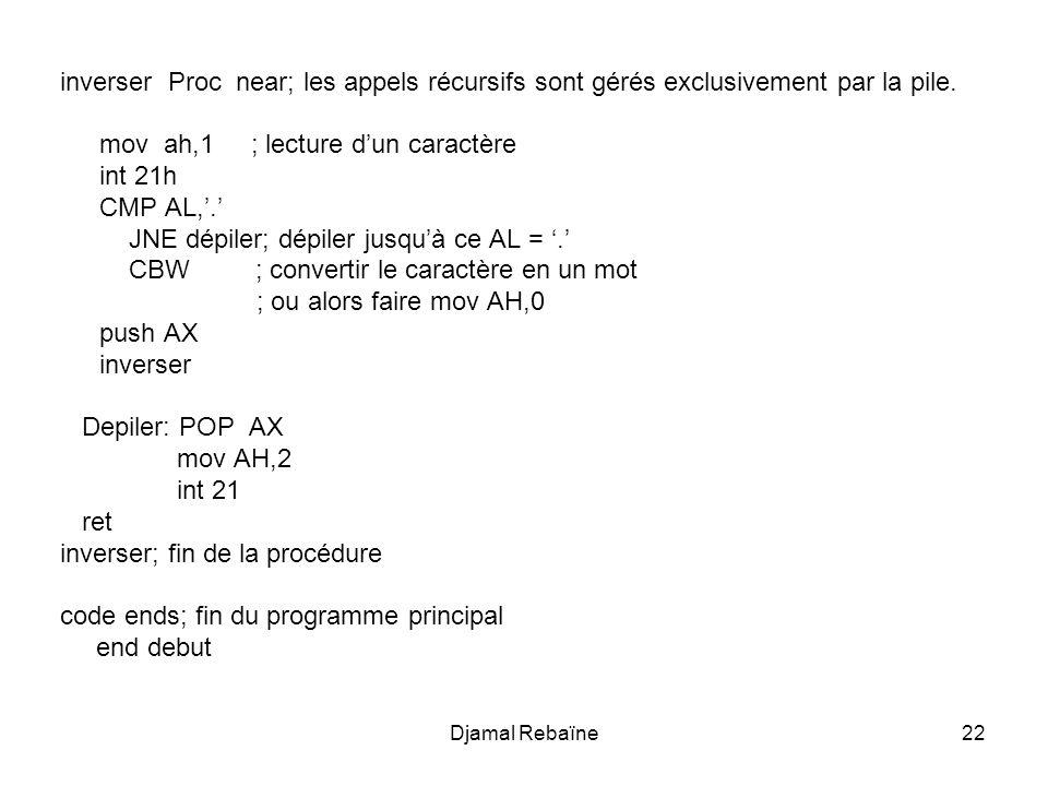 mov ah,1 ; lecture d'un caractère int 21h CMP AL,'.'