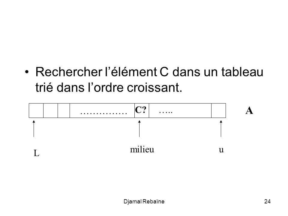 Rechercher l'élément C dans un tableau trié dans l'ordre croissant.