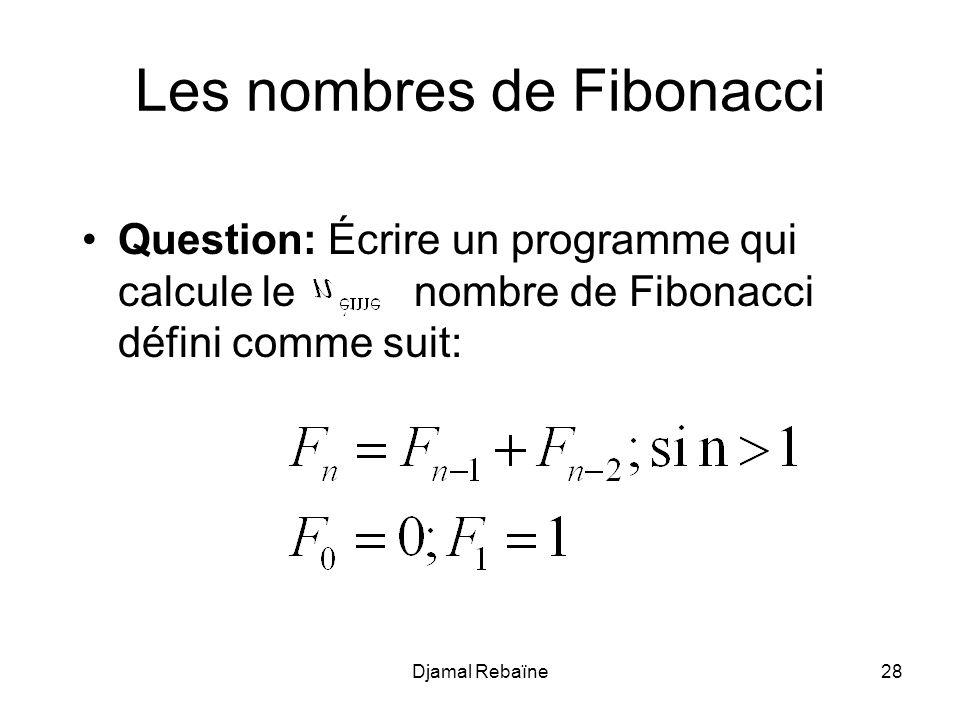 Les nombres de Fibonacci