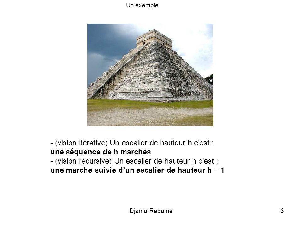 - (vision itérative) Un escalier de hauteur h c'est :
