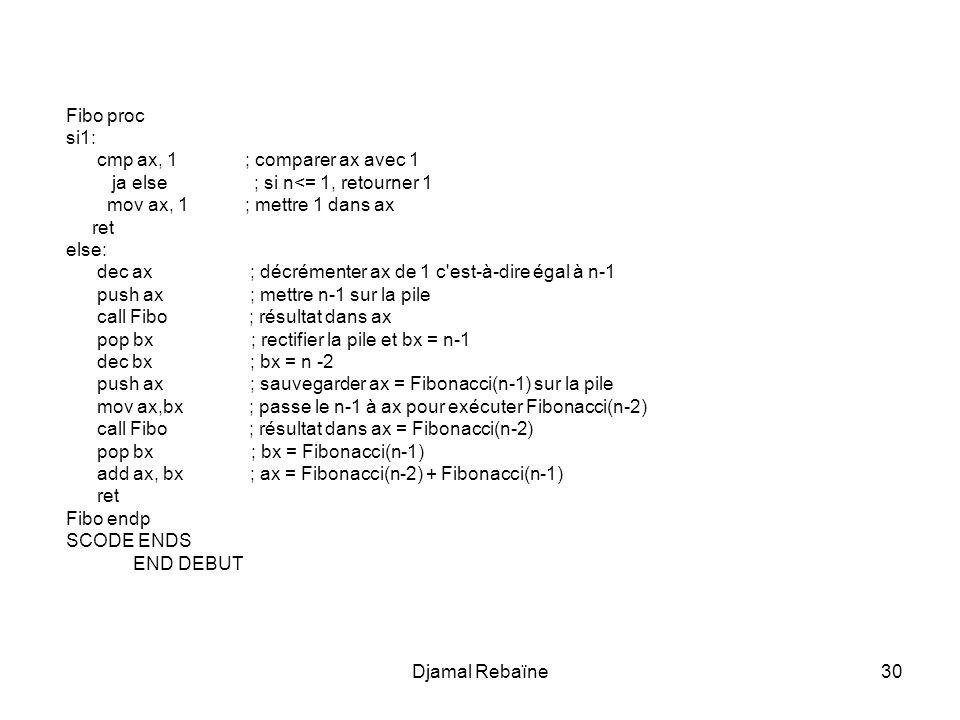 Fibo proc si1: cmp ax, 1 ; comparer ax avec 1. ja else ; si n<= 1, retourner 1.