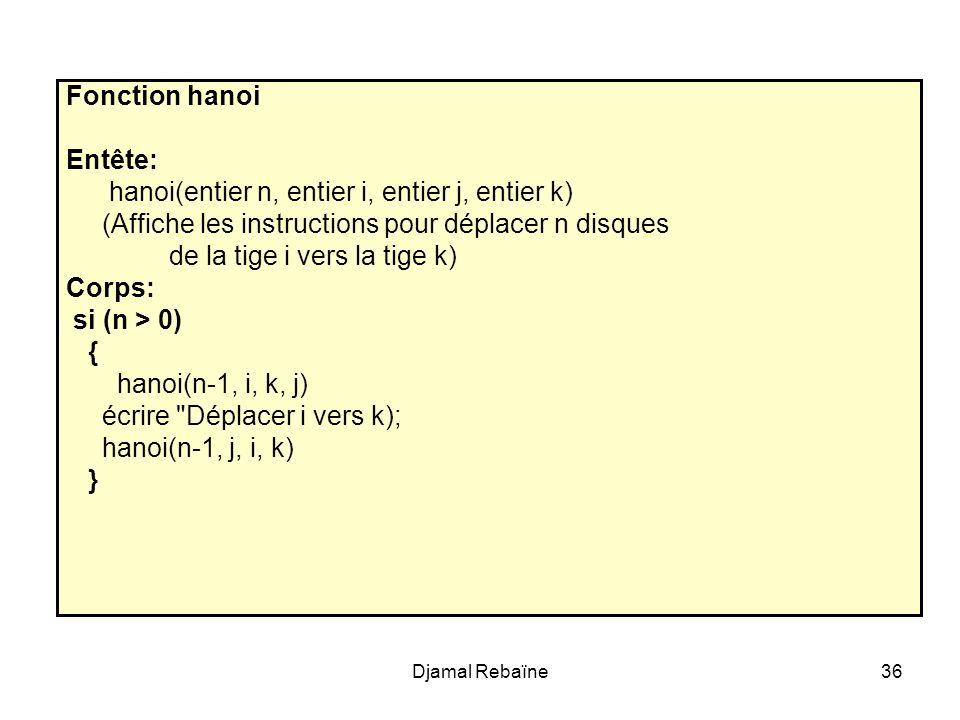 hanoi(entier n, entier i, entier j, entier k)