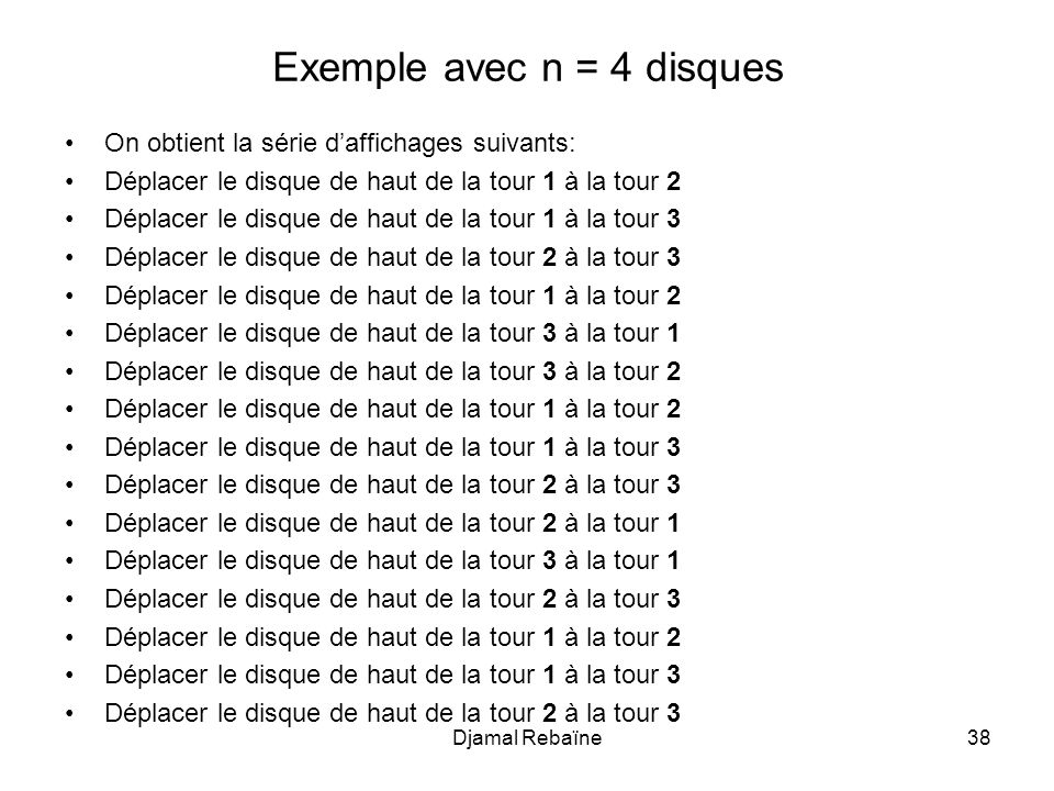 Exemple avec n = 4 disques