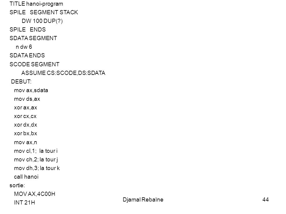 TITLE hanoi-program SPILE SEGMENT STACK. DW 100 DUP( ) SPILE ENDS. SDATA SEGMENT. n dw 6. SDATA ENDS.