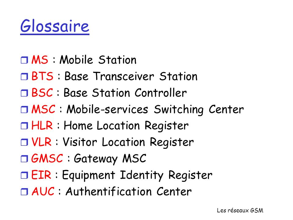 Glossaire MS : Mobile Station BTS : Base Transceiver Station