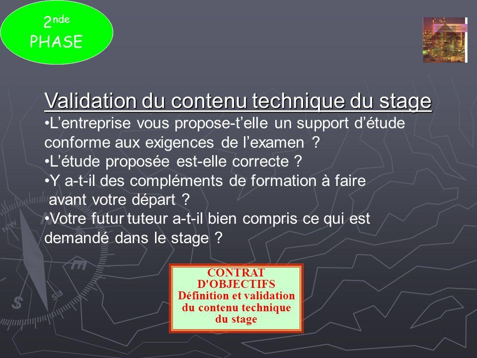 Définition et validation du contenu technique du stage
