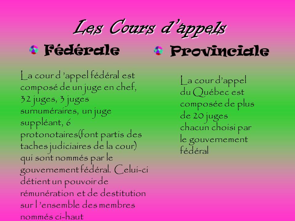 Les Cours d'appels Fédérale Provinciale