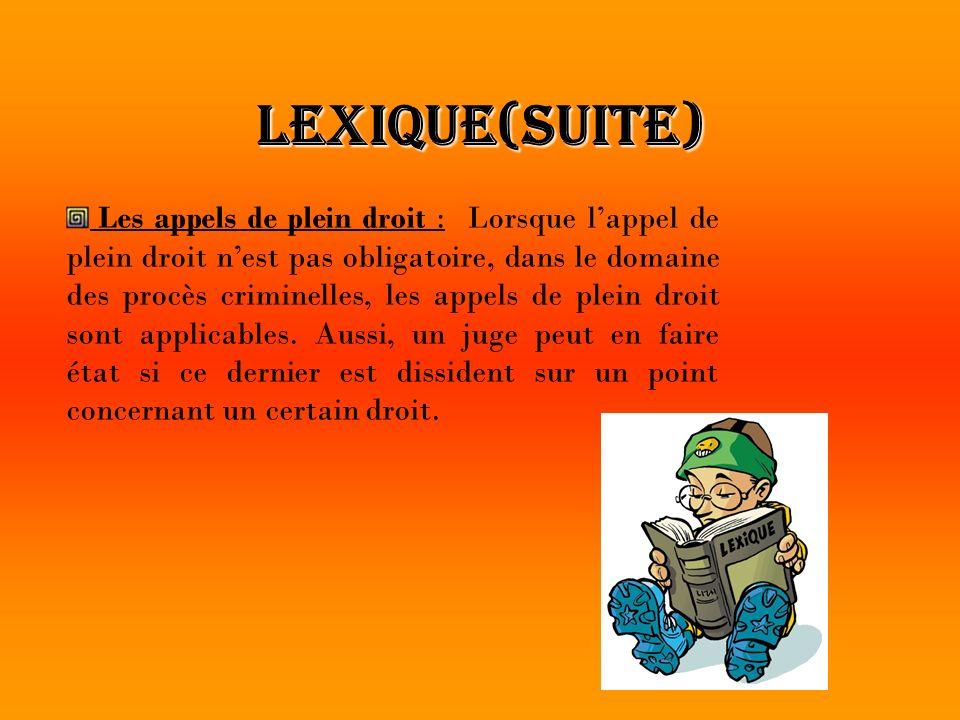 Lexique(suite)