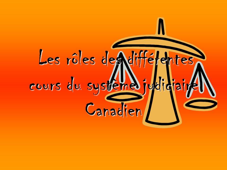 Les rôles des différentes cours du système judiciaire Canadien